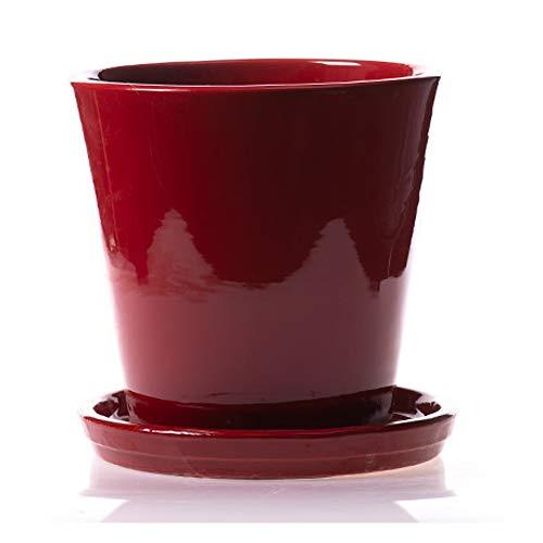 Maceteros de cerámica esmaltada color rojo fabricado a mano