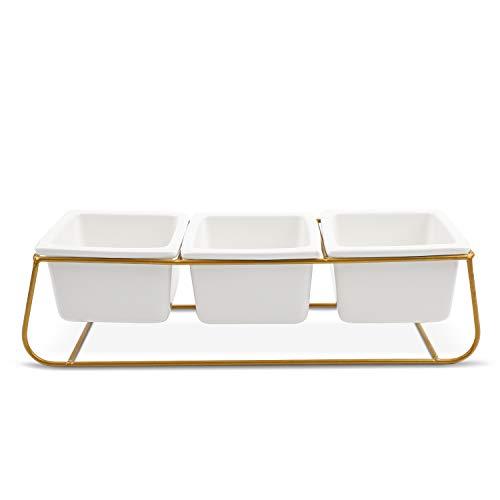 Modernas y elegantes macetas cuadradas blancas en soporte color oro