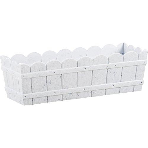 Jardinera Rectangular de madera color blanco resistente a los rayos UV 50 x 17 x 15 cm