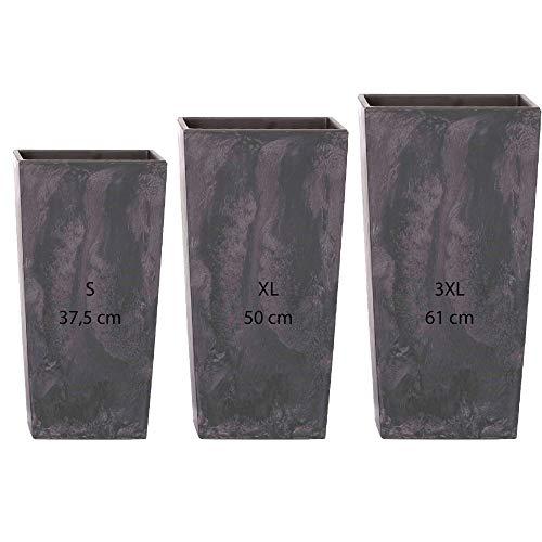 Pack de 3 macetas cuadradas altas de apariencia cemento