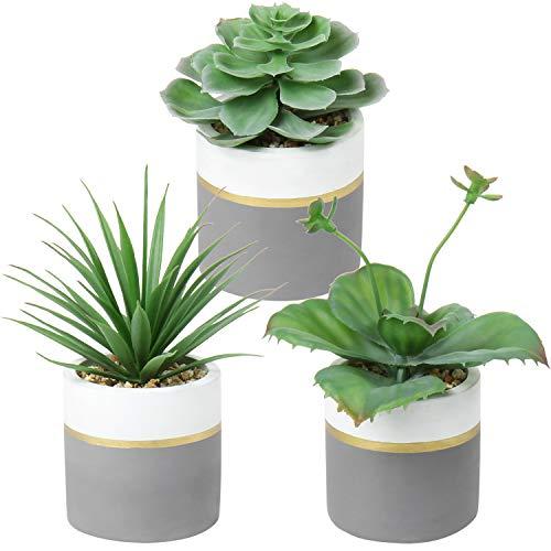Set de 3 Macetas de cemento con plantas suculentas y cactus artificiales