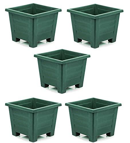 Set de 5 unidades de macetas cuadradas de 7 litros baratas en color verde
