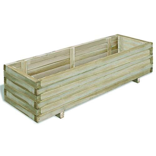 Maceta rectangular grande de madera de pino para jardin