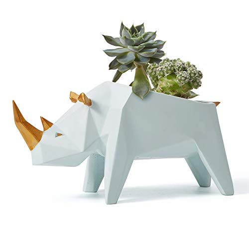 Moderna maceta con la figura de un rinoceronte geometrico para escritorios