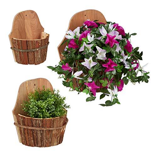 Juego de 3 decorativas y originales macetas colgantes de madera