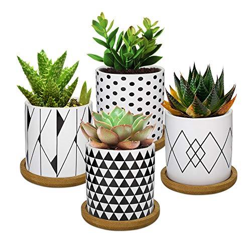 Bonito juego de 4 macetas de ceramica con patrones geometricos