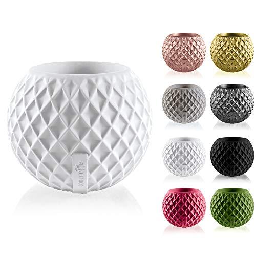 Macetas de cemento redondas con bonitos y originales diseños geometricos