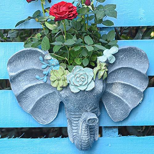 Llamativa maceta colgante pared con forma de cabeza de elefante