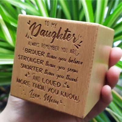 Macetero madera natural cuadrado