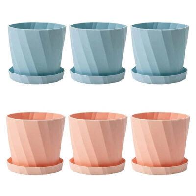 Tiestos de plastico azules y rosas para interior baratos