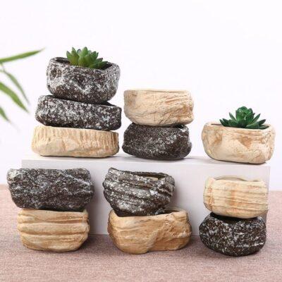 Maceteros de piedra natural en forma de roca baratos
