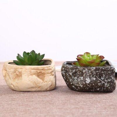 Maceteros de piedra natural en forma de roca economicos